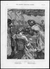 1875 ANTIQUE PRINT-Noël Inde Madras poème Pudding (283)
