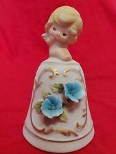 """Vintage Bisque Porcelain Bell W Little Girl Angel Handle Blue Flower 4.25"""" Japan"""