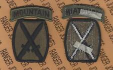10th Mountain Infantry Division OD Green & Black BDU patch w/ tab set m/e