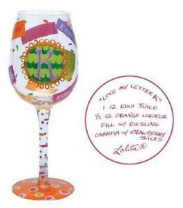 "Personalized Love My Letter ""K"" Glass - Love My Wine - Lolita w/ box & Tag 15oz"