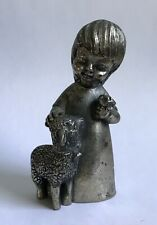 "Peltro Italy Young Girl with Baby Lamb Pewter 4"" Tall Metal Figure Figurine"