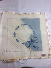 """VINTAGE MARCY NEEDLEPOINT CANVAS,11""""X10"""", ALREADY STARTED, WITH YARN"""