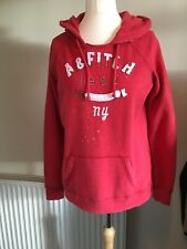 WOMANS ABERCROMBIE&FITCH RED HOODIE SIZE L