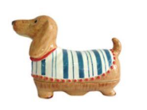 Dachshund /Sausage Dog Design Novelty Ceramic Butter Cheese Dish, Cute Gift Idea