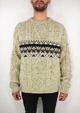 ARAN CRAFTS Ireland Men's Crew Neck Chunky Cable Knit Wool Fisherman Sweater L