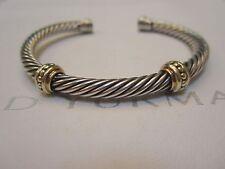 "David Yurman 5mm 14k Yellow Gold 2 Bead Station Sterling Cable Bracelet 6 1/2"""