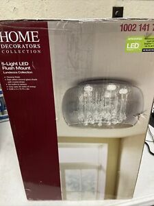 15 in. 5-Light Flush Mount Integrated LED w/ Rain Patterned Glass Shade, Chrome