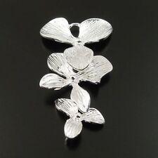 4pcs Silver Tone Brass Cute Flower Charm Pendant Jewelry Finding Hot