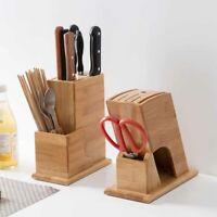Bamboo Wooden Knife Block Holder Stand Scissors Organizer Kitchen Storage Rack
