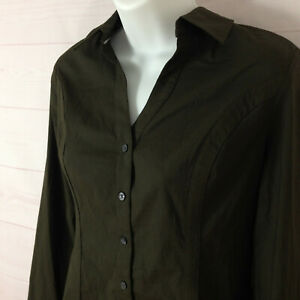 Express The Essential Shirt size S solid green collared long sleeve button up