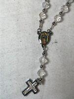 Crystal Rosary - Clear - Chrome - Cross Pendant Diamond Studded