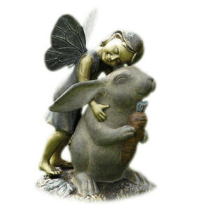 Adorable Fairy and Bunny Happiness Garden Statue