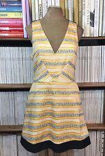 TOPSHOP dress yellow animal print fit flare sleeveless summer UK 12 US 8