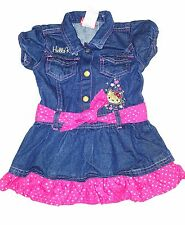 Hello Kitty Jean Skirt Dress Size 2T - NWOT - Dark Blue - Pink Hearts by Sanrio