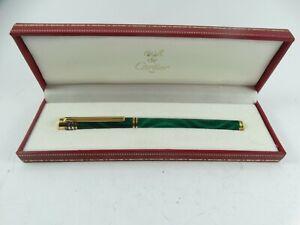 Cartier Must de Cartier Gold Plate Marble Green Lacquer Ballpoint Pen 1989
