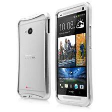 HTC One Protección Aluminio Funda de Móvil Tazón Fuente Parachoques Gris Plata