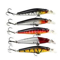 5pcs Plastic Minnow Fishing Lures Floating Rattles Bass Crankbait 8.5cm 8.9g