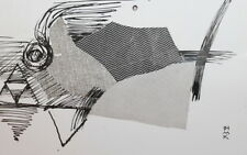 1991 Abstract Cubism Modernism Ink Collage Drawing Signed