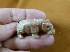(Y-Hip-40) tan white Hippo Hippopotamus gem Gemstone carving Soapstone hippos