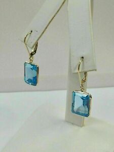 6Ct Emerald Cut Blue Topaz Lever back Stud Earrings in 14k Yellow Gold Over