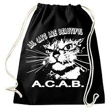 ALL CATS ARE BEAUTIFUL Turnbeutel Neu Gymsac Rucksack Punk Skinhead FUN AC/AB Oi