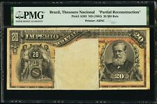 1885 BRAZIL Thesouro Nacional 20 MIL REIS P-A263 PMG Holder Partial Recon. Rare