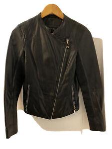Massimo Dutti  Black 100% Leather Jacket Size S
