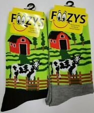 590fc46ee007a 2 Pairs Foozy Cow with Barn Womens Girls Novelty Socks Foozys