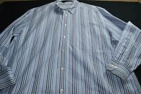 Turnbury Blue White Stripe large Cotton Long Sleeve Button Men's Shirt