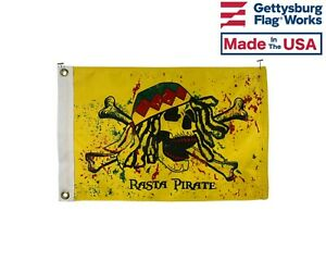 """12x18"""" Rasta Pirate Boat Flag Burgee - Durable All Weather Nylon - Made in USA"""