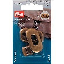 Prym Drehverschluss messing antik 20x35mm  Taschenverschluß Dreh Schnalle 417881
