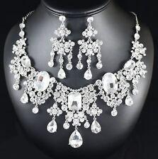 Gypsophila Austrian Crystal Rhinestone Bib Necklace Earring Set Bridal Prom N104