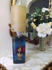VINTAGE CON FIORI IN RESINA Lampada con paralume in fibra di vetro filato incredibile lavoro 1