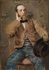 """Art oil painting Richard Caton Woodville self-portrait man portrait with hat 36"""""""