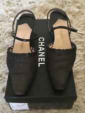 CHANEL GRAY BLACK SLINGBACKS HEELS SHOES IN BOX
