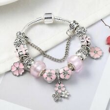 Silver Pink Daisy Flower Charms Bracelet With Charms By Pandora's Boxy Gem