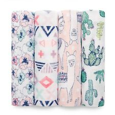 aden and anais breathable muslin 4-pack swaddles: trail blooms