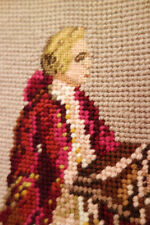 Handmade Tapestry  Figural Portrait of Young Man Needlepoint Canvas