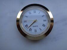 """1-7/16"""" (37MM) Hi-Qual QUARTZ CLOCK Insert, Gold Bezel, Metal Case, Roman"""