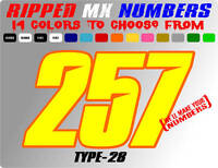 CUSTOM 2 COLOR NAME MOTOCROSS NUMBER PLATE DECALS SUPERCROSS STICKERS RACE CAR