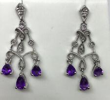 Amethyst Diamond Chandelier Earrings Dangle 10 Karat White Gold Purple