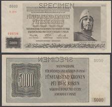 BOHEMIA /& MORAVIA 5000 5,000 KORUN 1944 P 17 SPECIMEN AU-UNC