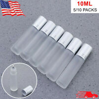 5/10Pcs 10ml Frosted Glass Roll On Bottle Metal Roller Ball Essential Oil Clear