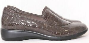 Clarks Gael Feline Grayish Brown Patent Croc Print Wedge Loafer Women's US 10M