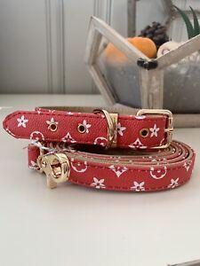 Luxury dog monogram collar with matching leash set combo fashionable Red LARGE