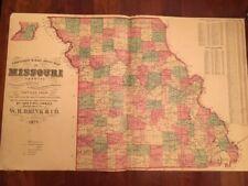 Rare 1875 Large MISSOURI Township & Rail Road MAP Post Offices Streams, Brink MO