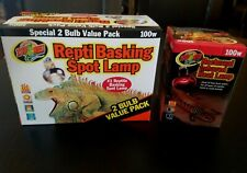 3 100W Zoo Med Bulbs;2 Reptile Basking Spot Lamps/1 Nocturnal Infrared Heat Lamp