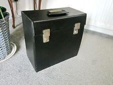 "Genuine 1960's LP 12"" Chocolate Brown Vinyl Record Storage Case, Twin Lock & Key"