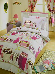 Novelty Single duvet cover Novelty pink & purple owls hoot bird print reversible