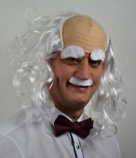 WHITE BALDY MAN (WITH EYEBROW & MOUSTACHE SET) FANCY DRESS WIG . UK DISP